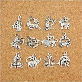 Mixed Zodiac Alloy Dangle Beads Accessories Charm Pendant