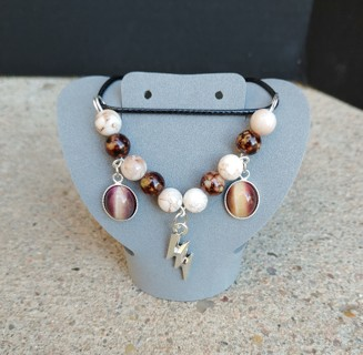 Beautiful Handmade Beaded Lightning Charm Necklace With Real Tiger Eye Stones
