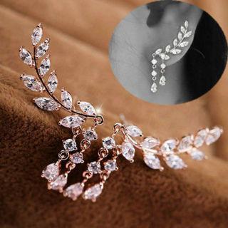 SUPPER FASHION Women Fashion Gold Silver Crystal Zircon Leaves Tassel Ear Stud Earrings Jewelry