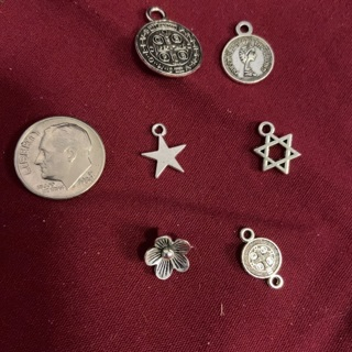 Six Zink Alloy Antique Silver Charms. #17