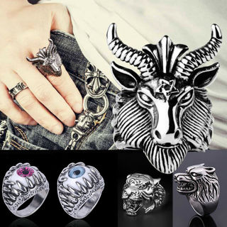 SUPPER COOL Punk Gothic Band Ring Stainless Steel Wolf Head Animals Glamour Finger Ring