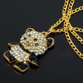 Panda Crystal Rhinestone Necklace NEW