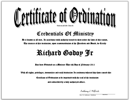 Ordination Certificate-License Be a Ordained Minister-Pastor-Reverend