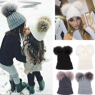 Cute Mom&Newborn Baby Boy Girls Winter Warm Double Fur Pom Bobble Beanie Hat