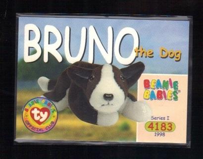 1998 Ty Beanie Babies Bruno The Dog #57 - BBOC Offical Club Series 1
