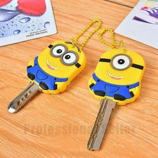 Lot 2 Despicable Me 2 Favor Gift Minion Stitch Key Cover Chain Cap keyring