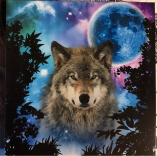 """Wolf and Moon - 4 x 4"""" MAGNET"""