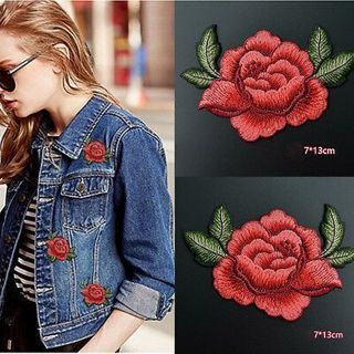 2PCS Red Rose Flower DIY Embroidery Applique Cloth Sewing & Iron on Patch Badge
