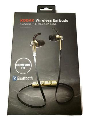 Brand New Kodak Wireless Bluetooth Earbuds Headset w/Hands-Free Microphone Gold Colored