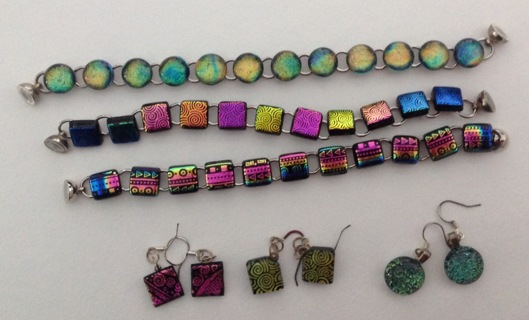 3 Sets of Bracelets and Earrings. Beautiful Dichroic Glass.