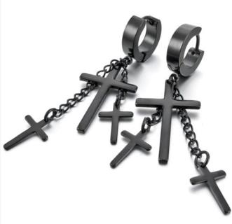 Stainless Steel Earrings ear clips ear studs Black Cross Gothic Punk Rock G7Q1