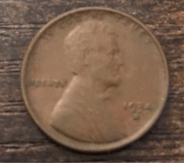 1934 - D Wheat Cent Penny Coin Lincoln