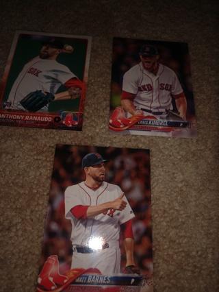 3 Card lot baseball Matt Barnes, Craig Kimbel and Anthony Ranaudo, Boston red Sox