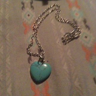 BN Blue Turquoise Heart Natural Stone Necklace