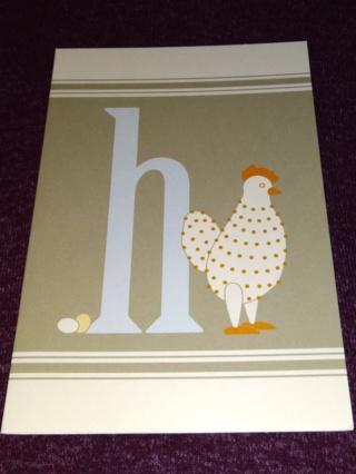 Alphabet Greeting Card - Hen (h)