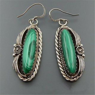 2020 Silver Marquise Cut Turquoise Drop Earrings x 1Pair