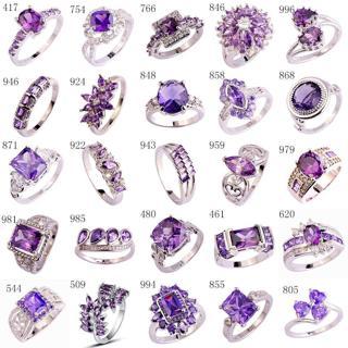 Wholesale Jewelry Women Amethyst & Purple Silver Wedding Ring Band Size 6-13 New