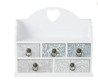 ⭐️⭐️⭐️⭐️Mind Reader 5 Drawer Storage Organizer Wooden Chest Compartments