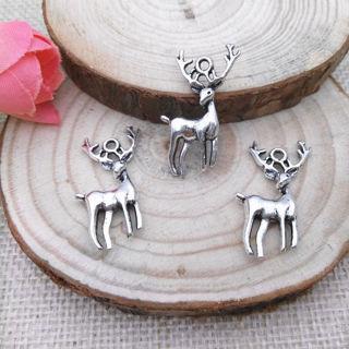 18PCs Tibet Silver Deer Charm Pendant Beaded Jewelry