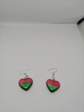 Red Green Titanium Crystal Heart 20x20x5mm earrings