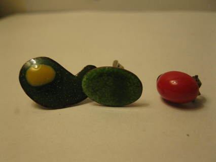 old vintage Green Enamel Earring, Enameled Cufflink & West Germany Earring lot