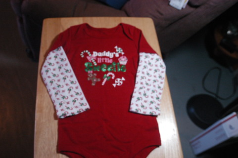 Daddy's Little Sweetie Christmas Shirt 24 Mo.