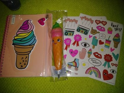❤✨❤✨❤️BRAND NEW KAWAII ICE CREAM CONE YOOBI™ NOTEBOOK WITH SQUISHY INK PEN & STICKERS❤✨❤✨❤