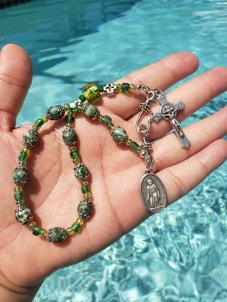 Hand Made one decade rosary St. Peregrine, Patron Saint of Cancer Patients,