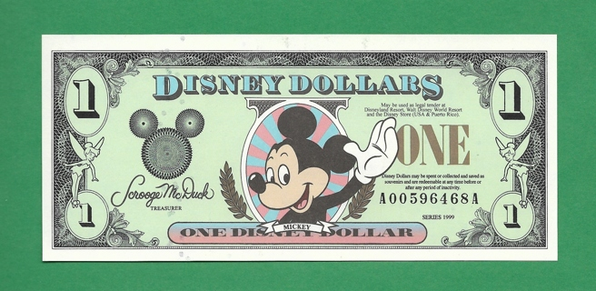 Collectible Currency Mickey Mouse Disney Dollars