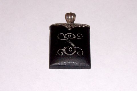 Antique Mourning Pendant with Sterling Silver