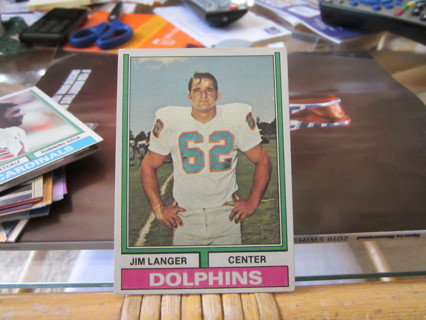 ***1974 TOPPS  VINTAGE FOOTBALL CARD***JIM LANGER***MIAMI DOLPHINS***