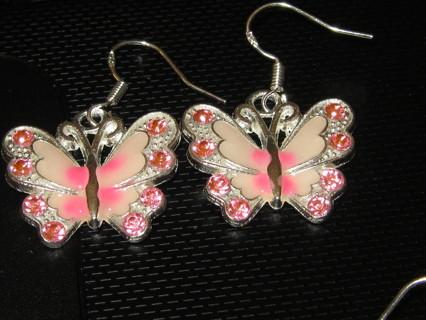 Beautiful Pink Butterfly Earrings