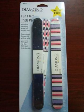 BRAND NEW Diamond Cosmetics: Fun File Triple Pack Nail Files