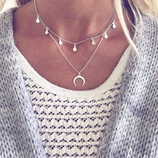 Simple Moon Round Pendant Clavicle Necklace Women Silver Double Layer Necklace Exquisite Party