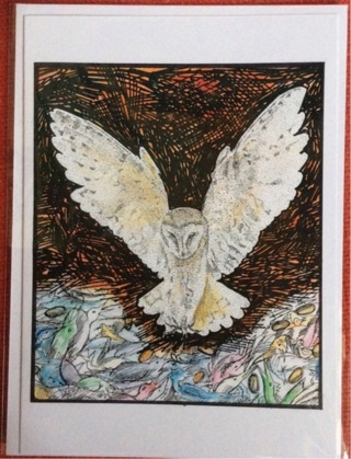 "WILD OWL - 5 x 7"" Art Card by Nina  - GIN ONLY"