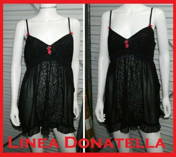 Sexy Black Nighty Chemise Lingerie LINEA DONATELLA Womens Large MINT!!!