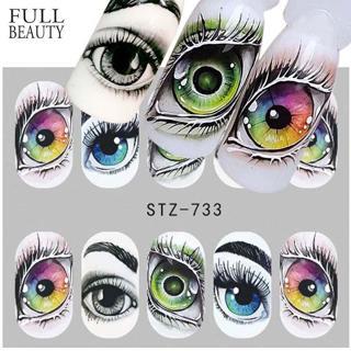 Full Beauty 1x Skull Bone Nail Sticker Water Self Adhesive Nail Art Tattoo Big Eye Horror Decals f