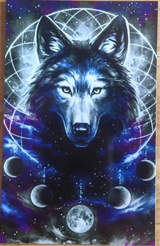 "WOLF WITH MOON PHASES - 4 x 5"" MAGNET"