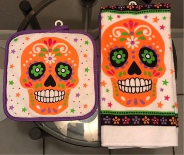Sugar Skulls Pot Holder and Dish Towels