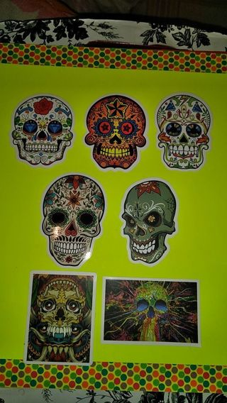❤✨❤✨❤14 BRAND NEW LARGE SUGAR SKULL STICKERS(2 OF EACH)❤✨❤✨❤#7