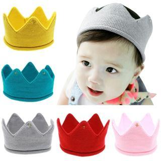 Hot and nice design Woolen Yarn Cute Baby Boys Girls Crown Knit Headband Hathair accessories hat t