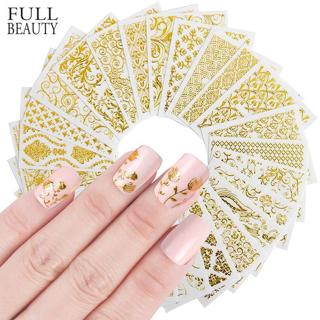 Full Beauty 20pcs Shinny  3D Sticker Nails Art Gold Glitter Adhesive Flower Vine for Manicure Tips