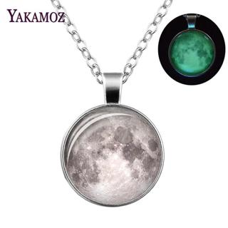 NEW Glowing in the Dark Galaxy Moon Pendant Necklace For Women Jewelry Luminous Necklace Vintage S