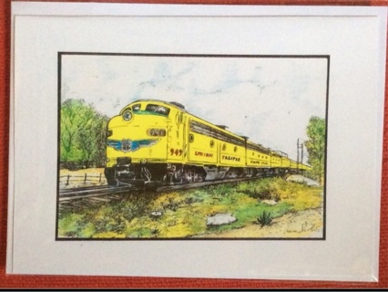"YELLOW STREAMLINER - 5 x 7"" art card by artist Nina Struthers - GIN ONLY"