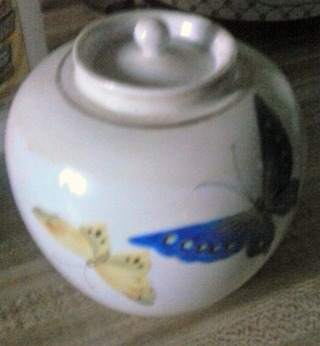 """Antique 6"""" NIPPON Butterfly Vase/Urn w/lid"""