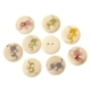 Two Random Color Pick Elephant Round Puffy Wood Button - 18mm