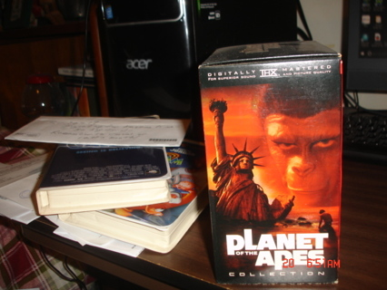 planet of the apes,5 tape movie boxed set on vhs,exc cond.