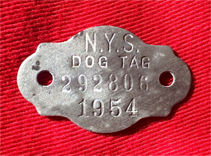 1954 DOG TAG New York State NY aluminum metal license 63 year old collectible