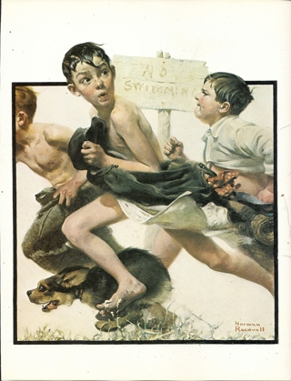 "vintage Norman Rockwell: No Swimming - 10"" x 13"" Print"