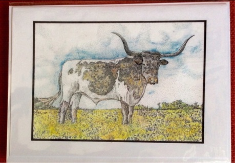 "TEXAS LONGHORN - 5 x 7"" Art Card by artist Nina Struthers - GIN ONLY"